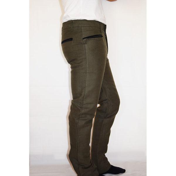 Pantalone fustagno scamosciato verde zip