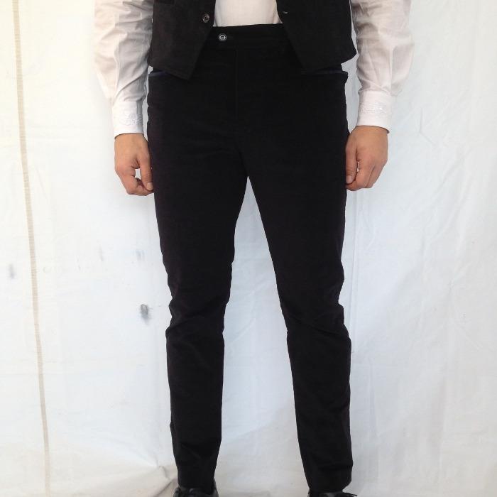 7fc98143d8 Pantalone Velluto Sardo Elastico Liscio Nero