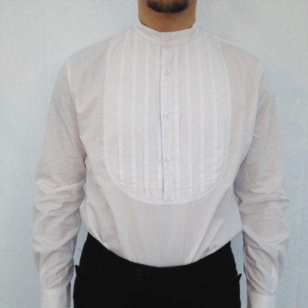camicia sarda a bavaglio plissettato manica lunga per abito elegante