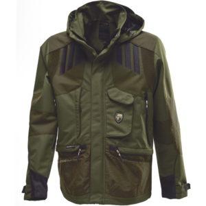 giacca verde con inserti antistrappo per cacciatori