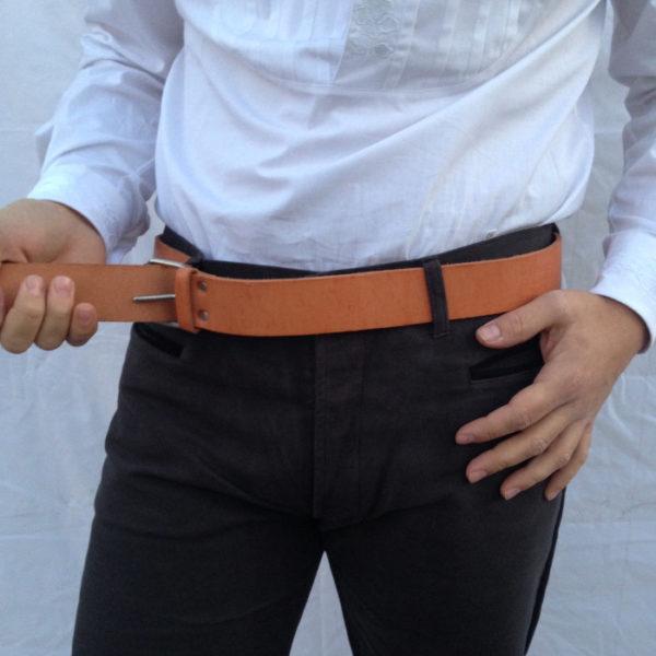 cintura in pelle beige