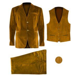 una giacca, un gilet, un pantalone dello stesso colore giallo disposti separatamente