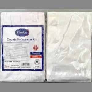 coppia federe in cotone con zip bianche