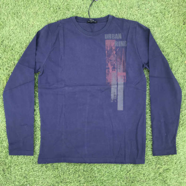 maglietta moda maniche lunghe in cotone blu con stampa sul petto