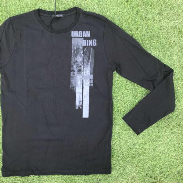 maglietta moda maniche lunghe in cotone nera con stampa sul petto