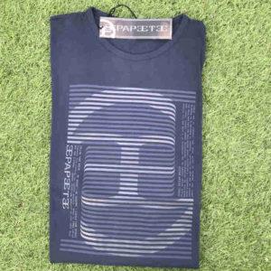 maglietta manica lunga in cotone blu con stampa pepeete