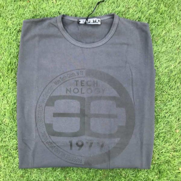 maglietta manica lunga in cotone grigia con stampa papeete