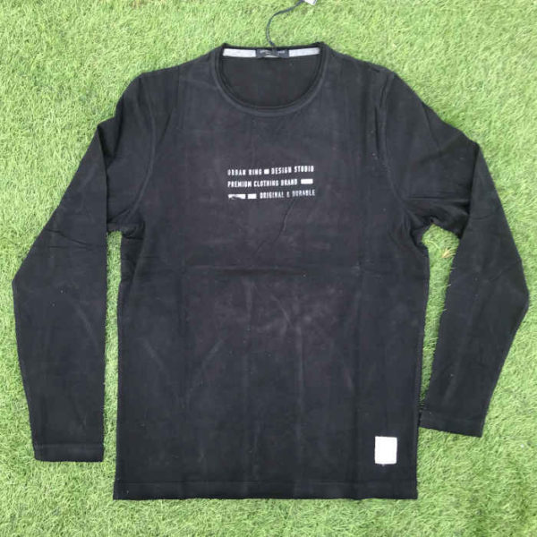 maglietta maniche lunghe in cotone da uomo nera