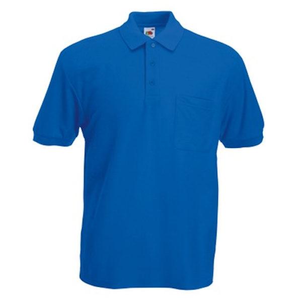 polo da uomo in cotone con taschino tinta unica azzurro