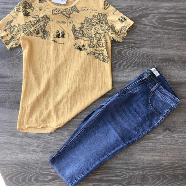 jeans da uomo elasticizzato con maglietta