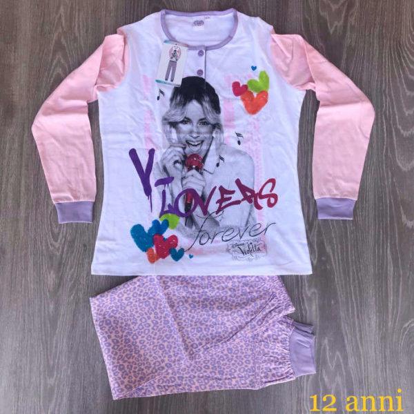 pigiama bimba in cotone made in italy 12 anni violett