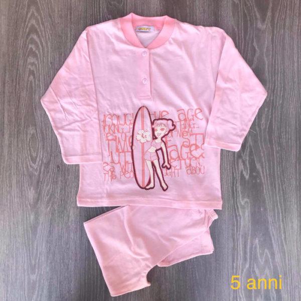pigiama da bambina con la barbie rosa 5 anni in cotone primavera-estate made in iatly