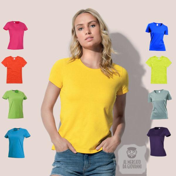 t-shirt da donna manica corta in cotone colori estivi