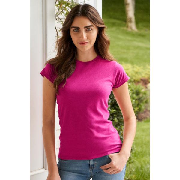 t-shirt in cotone manica corta rosa da donna