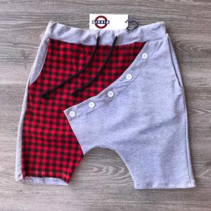 pantaloncino moda da ragazzo in cotone grigio con scacchiera rossa