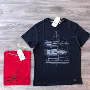 t-shirt in cotone con stampa sul petto