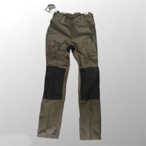 pantalone caccia pernice leggero cotone idrorepellente verde con inserti neri nelle ginocchia