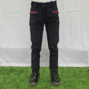 pantalone in velluto modello sardo nero con tasche rosse