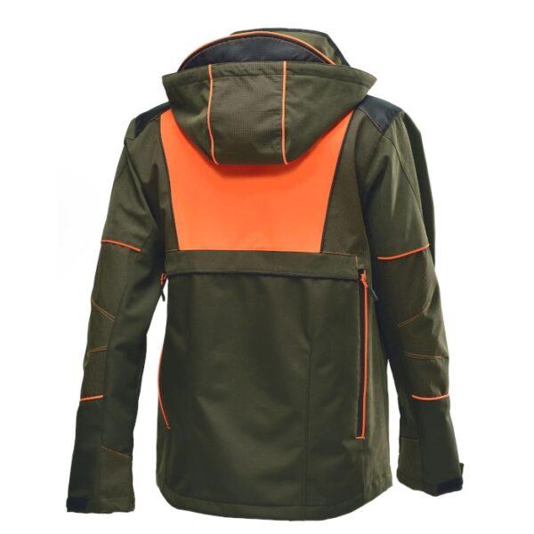 visione posteriore della giacca dobbiaco tech-3 verde con inserti arancione fluorescente per l'alta visibilità durante la caccia