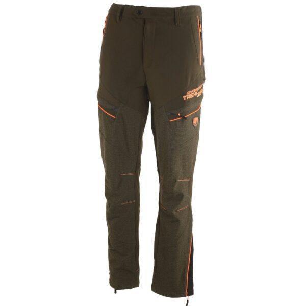 pantalone in tessuto tecnico idrorepellente color verde con profili fluorescenti ad alta visibilità per lo sport della caccia o treccking