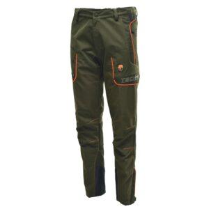 pantalone in tessuto tecnico adatto per l'utilizzo in montagna per lo sport della caccia color verde con profili arancioni ad alta visibilità