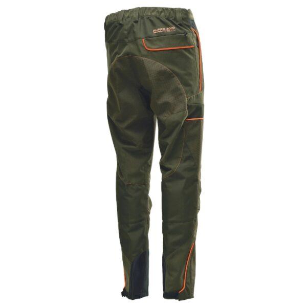 pantalone tecnico per lo sport della caccia color verde con profili ad alta visibilità
