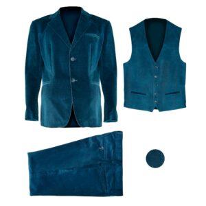 giacca, gilet, pantalone in velluto azzurro