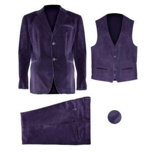 Giacca, gilet, pantalone in velluto di colore viola