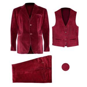 giacca, gilet, pantalone velluto leggero colore Rosso