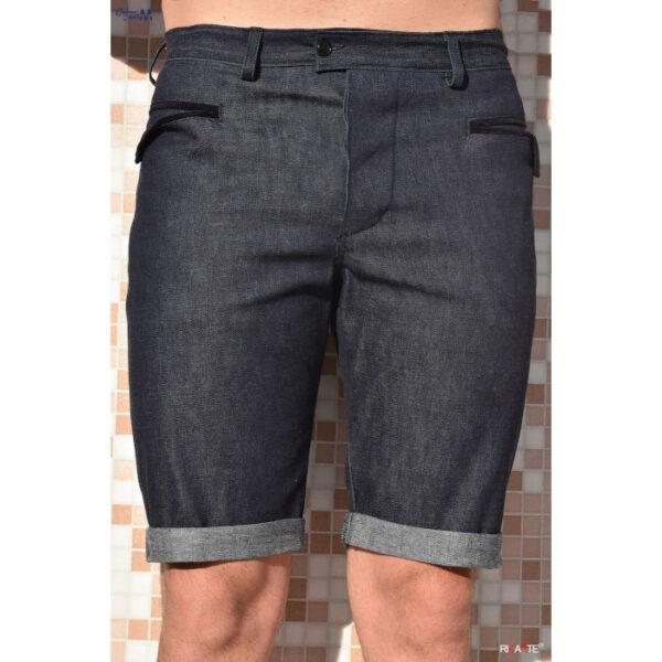 pantaloncino in jeans per uomo, di colore blu con tasche tipiche del vestito sardo