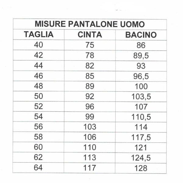 tabella indicante delle misure per la corretta scelta della taglia di un pantalone sardo